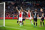 Nederland, Amsterdam, 23 september 2015<br /> Eredivisie<br /> Seizoen 2015-2016<br /> Ajax-De Graafschap<br /> John Heitinga van Ajax juicht nadat hij een doelpunt heeft gemaakt, 2-0