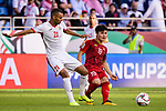 Nguyen Quang Hai of Vietnam (R) fights for the ball with Salem Alajalin of Jordan (L) during the AFC Asian Cup UAE 2019 Round of 16 match between Jordan (JOR) and Vietnam (VIE) at Al Maktoum Stadium on 20 January 2019 in Dubai, United Arab Emirates. Photo by Marcio Rodrigo Machado / Power Sport Images