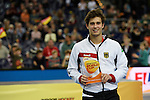Leipzig, Germany, February 08: Timm Herzbruch of Germany holds up the trophy for the Best Male Junior Player of the FIH Indoor Hockey Men World Cup on February 8, 2015 at the Arena Leipzig in Leipzig, Germany. (Photo by Dirk Markgraf / www.265-images.com) *** Local caption ***