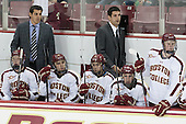 Evan Richardson (BC - 22), Marty McInnis (BC - Assistant Coach), Austin Cangelosi (BC - 26), Johnny Gaudreau (BC - 13), Mike Ayers (BC - Assistant Coach), Kevin Hayes (BC - 12), Adam Gilmour (BC - 14) - The Boston College Eagles defeated the visiting St. Francis Xavier University X-Men 8-2 in an exhibition game on Sunday, October 6, 2013, at Kelley Rink in Conte Forum in Chestnut Hill, Massachusetts.