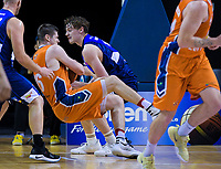 Finn Delaney (Giants) fouls Conor Morgan (Sharks) during the national basketball league semifinal match between Nelson Giants and Southland Sharks at TSB Bank Arena in Wellington, New Zealand on Saturday, 4 August 2018. Photo: Dave Lintott / lintottphoto.co.nz