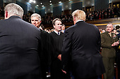 FEBRUARY 5, 2019 - WASHINGTON, DC: Supreme Court Justice Brett Kavanaugh shook hands with President Donald Trump before the State of the Union address at the Capitol in Washington, DC on February 5, 2019. <br /> Credit: Doug Mills / Pool, via CNP