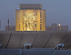 Dec. 7, 2012; Word of Life Mural, known as Touchdown Jesus, with the #1 sign atop Grace Hall...Photo by Matt Cashore/University of Notre Dame