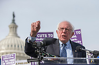 United States Senator Bernie Sanders (Democrat of Vermont) speaks during a rally led by United States Congressional Democrats against United States President Donald J. Trump's proposed tax plan outside the United States Capitol in Washington, D.C. on November 1st, 2017.<br /> Credit: Alex Edelman / CNP /MediaPunch