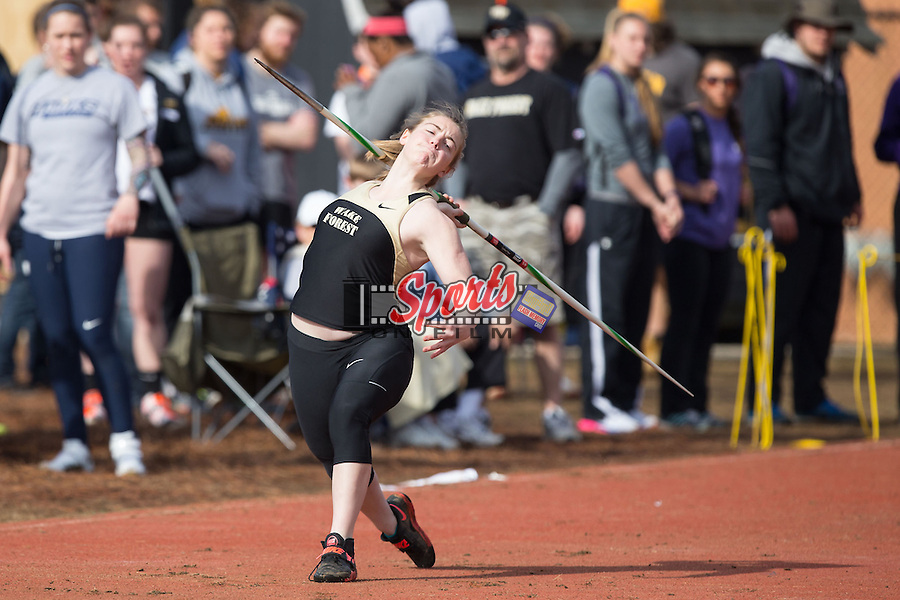 Jessie Merckle of the Wake Forest Demon Deacons competes in the women's javelin at the Wake Forest Open on March 21, 2015 in Winston-Salem, North Carolina.  (Brian Westerholt/Sports On Film)