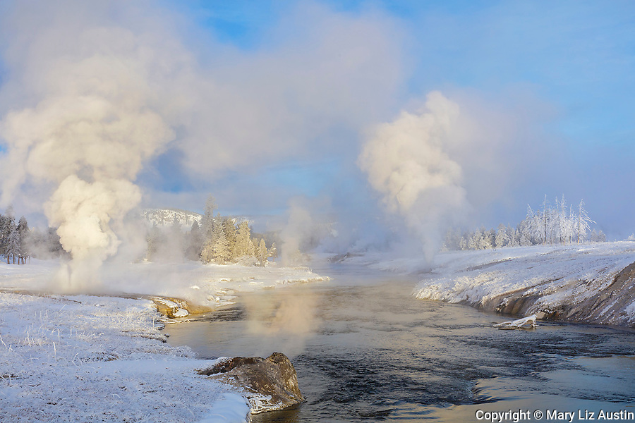 Yellowstone National Park, WY: Morning light on the the Firehole River in winter