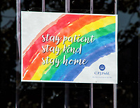 A rainbow sign in support of the NHS displayed as a message of hope during the Coronavirus (COVID-19) lockdown crisis. Bedford, UK on Sunday April 26th 2020<br /> <br /> Photo by Keith Mayhew