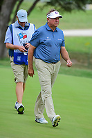 Ken Duke (USA) departs 18 after sinking his birdie putt during round 2 of the Valero Texas Open, AT&amp;T Oaks Course, TPC San Antonio, San Antonio, Texas, USA. 4/21/2017.<br /> Picture: Golffile | Ken Murray<br /> <br /> <br /> All photo usage must carry mandatory copyright credit (&copy; Golffile | Ken Murray)