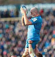 12th January 2020; RDS Arena, Dublin, Leinster, Ireland; Heineken Champions Champions Cup Rugby, Leinster versus Lyon Olympique Universitaire; Devin Toner (Leinster) comes down with clean lineout ball - Editorial Use