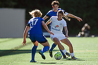 Seattle, WA - Sunday, May 1, 2016: FC Kansas City midfielder Mandy Laddish (7) maintains possession during a National Women's Soccer League (NWSL) match at Memorial Stadium.