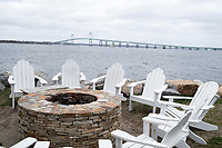 The Claiborne Pell Newport Bridge can be seen from the back recreation area at Gurney's Newport Resort and Marina, which was formerly a Hyatt Regency hotel, on Goat Island in Newport, Rhode Island, on Wed., April 19, 2017. The entire hotel will be renewed with an approximately $18 million renovation to be completed by Memorial Day 2017. This back area has not yet been renovated.