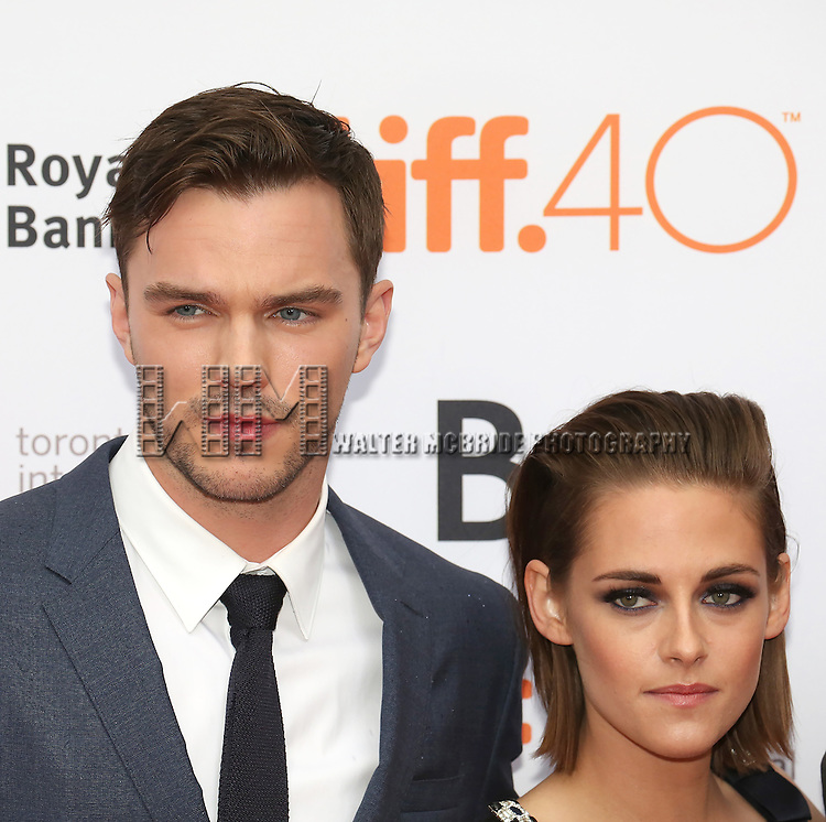 Nicholas Hoult and Kristen Stewart attends the 'Equals' premiere during the 2015 Toronto International Film Festival at the Princess of Wales Theatre on September 13, 2015 in Toronto, Canada.