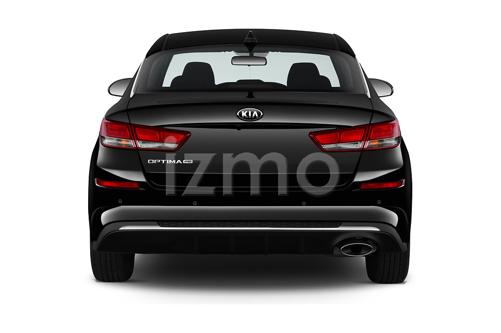 Straight rear view of 2020 KIA Optima LX 4 Door Sedan Rear View  stock images