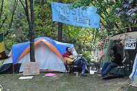Occupy Toronto Protest Movement Musicians at tent city St. Jame's Park Toronto, October 18, 2011