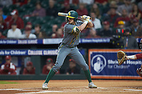Jared McKenzie (18) of the Baylor Bears at bat against the Arkansas Razorbacks in game nine of the 2020 Shriners Hospitals for Children College Classic at Minute Maid Park on March 1, 2020 in Houston, Texas. The Bears defeated the Razorbacks 3-2. (Brian Westerholt/Four Seam Images)