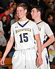 Chris Wasson #15 of Massapequa, left, reacts as his team closes in on victory in the Nassau County varsity boys basketball Class AA quarterfinals against Hempstead at Massapequa High School on Wednesday, Feb. 17, 2016. He drained four three-pointers in the second half. Massapequa won by a score of 50-38.