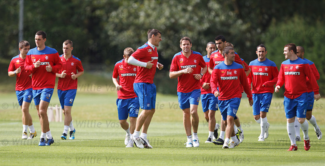 Lee McCulloch joking at training