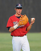 Outfielder Max Kepler (23) of the Elizabethton Twins, Appalachian League affiliate of the Minnesota Twins, prior to a game against the Bristol White Sox on August 18, 2011, at Joe O'Brien Field in Elizabethton, Tennessee. Elizabethton defeated Bristol, 13-3. (Tom Priddy/Four Seam Images)