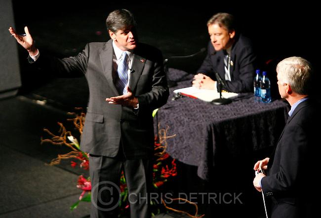 Salt Lake City, UT--5/4/07--9:58:39 PM--.Salt Lake City Mayor Rocky Anderson and Sean Hannity debate Friday night at Kingsbury Hall...**********.Salt Lake City Mayor Rocky Anderson and talk radio host Sean Hannity square off for a debate on the War in Iraq and impeachment of President Bush....Chris Detrick/Salt Lake Tribune.File #_2CD7722....`.