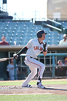 Ehire Adrianza (54) of the San Jose Giants, while on a rehab assignment with the San Francisco Giants, bats against the Lancaster JetHawks during the first game of a doubleheader at The Hanger on July 14, 2016 in Lancaster, California. Lancaster defeated San Jose, 3-0. (Larry Goren/Four Seam Images)