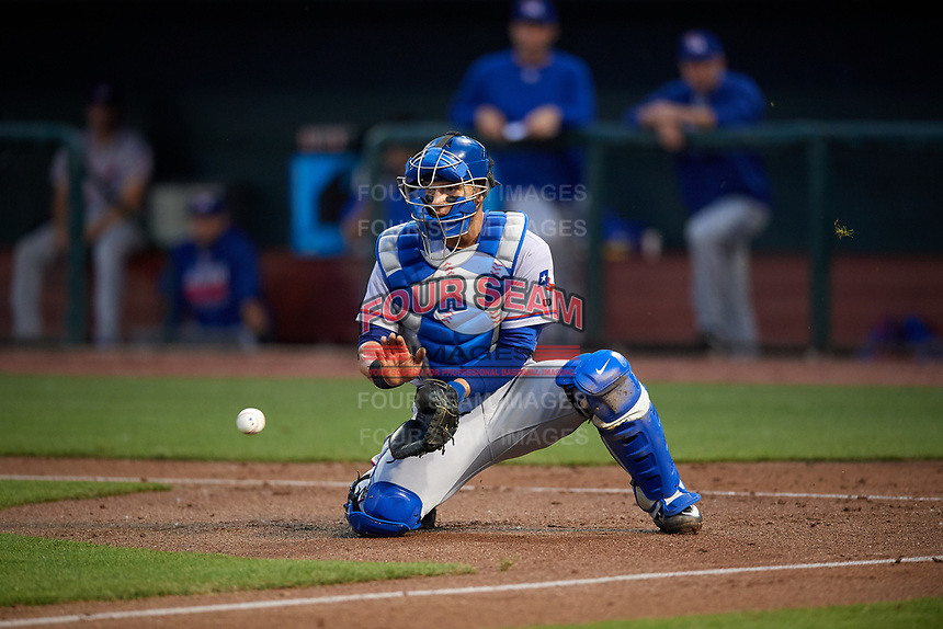 Round Rock Express catcher A.J. Jimenez (6) fields a throw to the plate during a game against the Memphis Redbirds on April 28, 2017 at AutoZone Park in Memphis, Tennessee.  Memphis defeated Round Rock 9-1.  (Mike Janes/Four Seam Images)