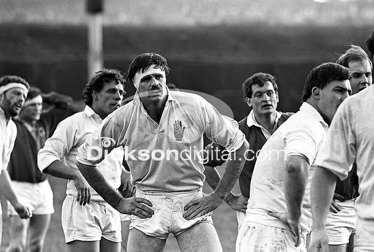 PACEMAKER PRESS INTL. BELFAST.  Action pic of Willie Anderson Ulster Rugby Player. 24/11/84.<br />