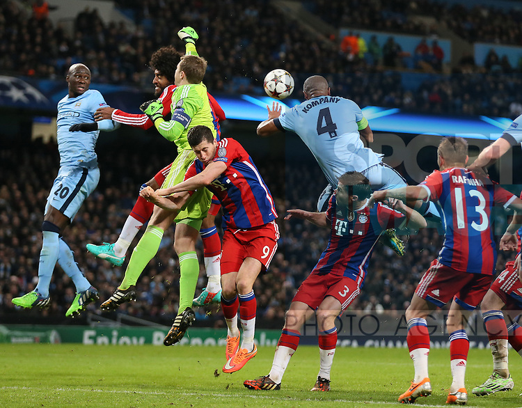 Vincent Kompany of Manchester City narrowly fail to connect with the ball  - UEFA Champions League group E - Manchester City vs Bayern Munich - Etihad Stadium - Manchester - England - 25rd November 2014  - Picture Simon Bellis/Sportimage