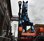 """A view of """"Bubbles"""" created by artist, P. A. Morrow, one of the """"Rockin' Around Saugerties"""" theme Statues on display throughout the Village of Saugerties, NY, on Sunday, June 4, 2017. Photo by Jim Peppler. Copyright/Jim Peppler-2017."""