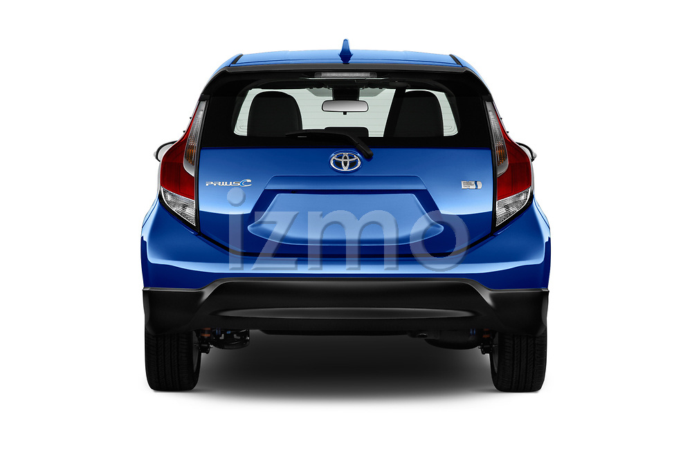 Straight rear view of 2017 Toyota Prius-c Four 5 Door Hatchback Rear View  stock images