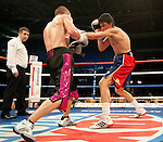 GLASGOW, SCOTLAND - MARCH 10: John Thain (red, white and blue shorts) lands a punch on Joe Lovell (black and pink shorts) in a light-middleweight contest on the Ricky Burns undercard at the Braehead Arena on March 10, 2012 in Glasgow, Scotland. (Photo by Rob Casey/Getty Images)