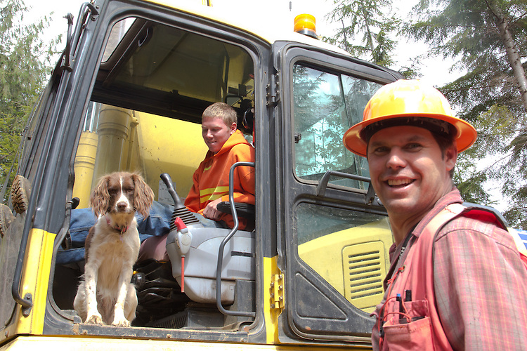 Ellsworth Creek Preserve, forest restoration, Kyle Smith, (right), Nature Conservancy forester, Bryce Lindstrom, backhoe operator, Nature Conservancy, Washington Chapter, Emerald Edge Project, Willapa Bay, The dog's name is Abbey