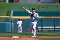 Mesa Solar Sox second baseman David Bote (15), of the Chicago Cubs organization, during an Arizona Fall League game against the Glendale Desert Dogs on October 28, 2017 at Sloan Park in Mesa, Arizona. The Solar Sox defeated the Desert Dogs 9-6. (Zachary Lucy/Four Seam Images)
