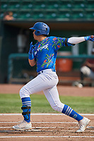 Miguel Vargas (18) of the Ogden Raptors bats against the Idaho Falls Chukars at Lindquist Field on July 29, 2018 in Ogden, Utah. The Raptors defeated the Chukars 20-19. (Stephen Smith/Four Seam Images)
