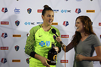 Cary, North Carolina  - Wednesday May 24, 2017: Katelyn Rowland is interviewed by Kelly Glendenning after being named player of the game after a regular season National Women's Soccer League (NWSL) match between the North Carolina Courage and the Sky Blue FC at Sahlen's Stadium at WakeMed Soccer Park. The Courage won the game 2-0.
