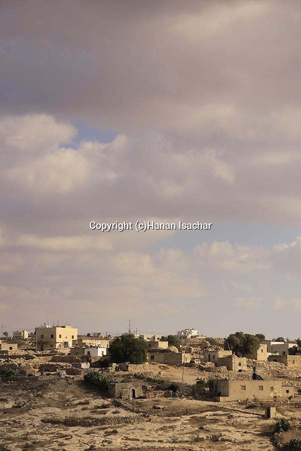 Israel, Shephelah, Palestinian village Beit Mirsim as seen from Tel Beit Mirsim