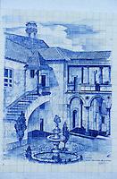 Europe/Portugal/Coimbra : Azuleros sur l'avenue place du marché représentant tous les monuments de Coimbra