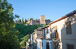 Cuesta de la Victoria street in the Albaicin district, Granada, Spain view over to the Alhambra