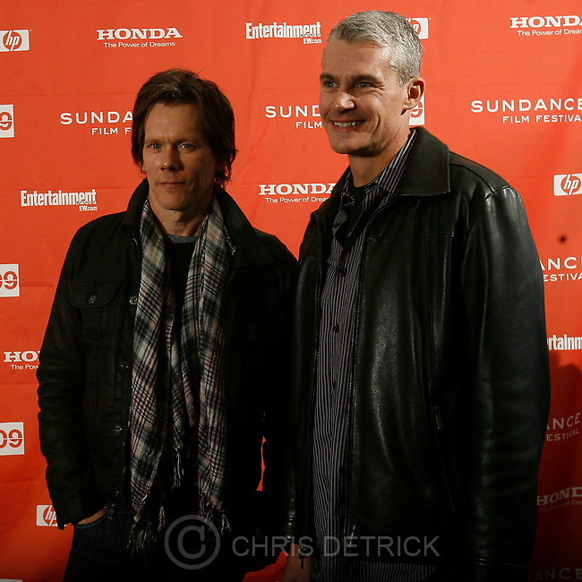 "Kevin Bacon and Lt. Col. Michael Strobl arrive before the premiere of the movie ""Taking Chance,"" at the Park City Racquet Club during the 2008 Sundance Film Festival Friday, January 16, 2009. ..Chris Detrick/The Salt Lake Tribune.."