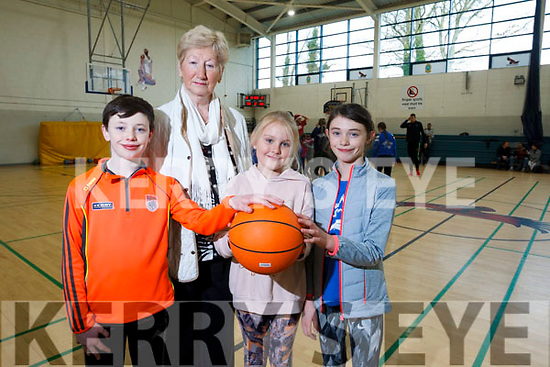 In attendance at the Mercy Mounthawk School gym for a  Basketball Marathon in aid of the Kerry Hospice. L-R Art O'Sullivan, Mairead Fernane, Anna Chute and Anna O'Sullivan