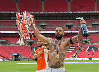 Blackpool Kyle Vassell celebrating after  the Sky Bet League 2 PLAY OFF FINAL match between Exeter City and Blackpool at Wembley Stadium, London, England on 28 May 2017. Photo by Andrew Aleksiejczuk.