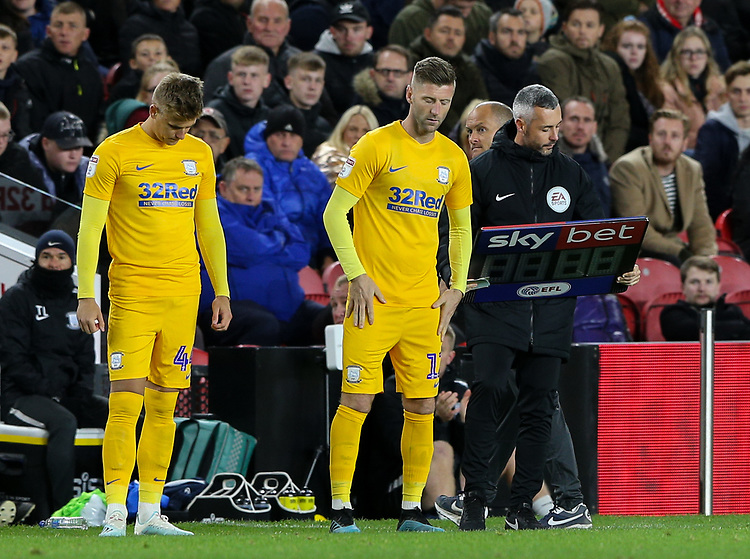 Preston North End's Paul Gallagher and Brad Potts prepare to come on<br /> <br /> Photographer Alex Dodd/CameraSport<br /> <br /> The EFL Sky Bet Championship - Middlesbrough v Preston North End - Tuesday 1st October 2019  - Riverside Stadium - Middlesbrough<br /> <br /> World Copyright © 2019 CameraSport. All rights reserved. 43 Linden Ave. Countesthorpe. Leicester. England. LE8 5PG - Tel: +44 (0) 116 277 4147 - admin@camerasport.com - www.camerasport.com