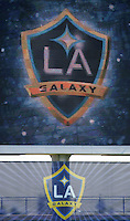 New L.A. logo at the David Beckham/LA Galaxy press conference at the Home Depot Center in Carson, California, Friday, July 13, 2007.