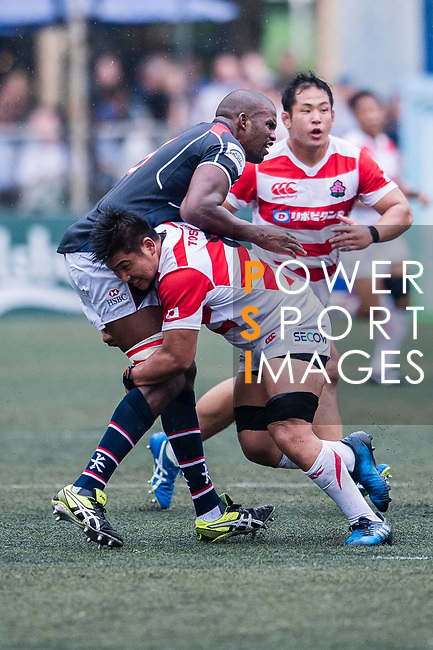 Shuhei Matsuhashi of Japan (R) puts a tackle on Adrian Griffiths of Hong Kong (L) during the Asia Rugby Championship 2017 match between Hong Kong and Japan on May 13, 2017 in Hong Kong, China. Photo by Marcio Rodrigo Machado / Power Sport Images