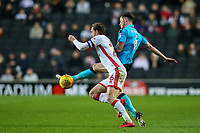 Fleetwood Town's Aiden O'Neill gets to the ball before Milton Keynes Dons' Edward Upson<br /> <br /> Photographer Andrew Kearns/CameraSport<br /> <br /> The EFL Sky Bet League One - Milton Keynes Dons v Fleetwood Town - Saturday 11th November 2017 - Stadium MK - Milton Keynes<br /> <br /> World Copyright &copy; 2017 CameraSport. All rights reserved. 43 Linden Ave. Countesthorpe. Leicester. England. LE8 5PG - Tel: +44 (0) 116 277 4147 - admin@camerasport.com - www.camerasport.com