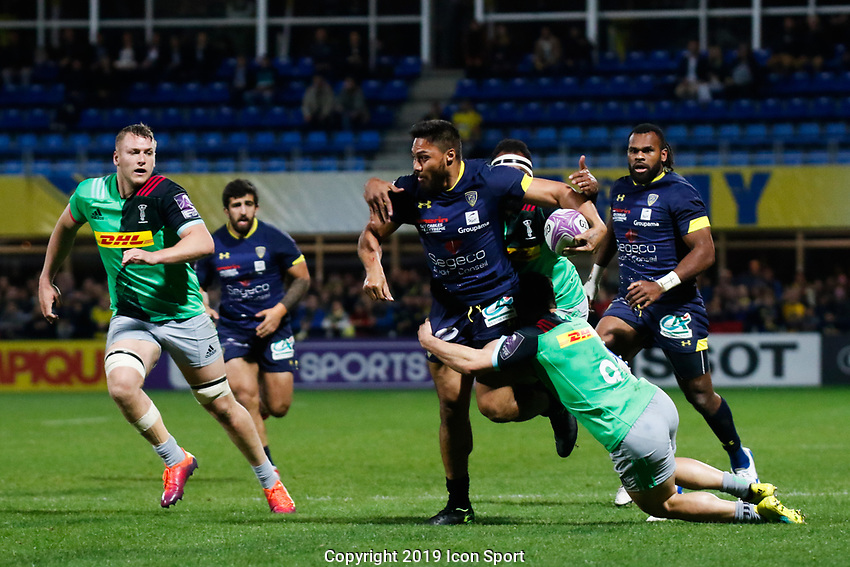 George Moala of Clermont and Sam Hidalgo Clyne of Harlequins during the Challenge Cup semi final match between ASM Clermont and Harlequins on April 20, 2019 in Clermont-Ferrand, France. (Photo by Romain Biard/Icon Sport)