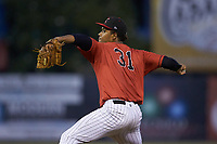 Kannapolis Intimidators starting pitcher Johan Dominguez (31) in action against the Hagerstown Suns at Kannapolis Intimidators Stadium on August 27, 2019 in Kannapolis, North Carolina. The Intimidators defeated the Suns 5-4. (Brian Westerholt/Four Seam Images)