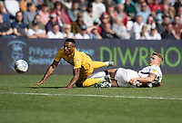 Swansea City's Jake Bidwell's (right) tackle brings down Preston North End's Darnell Fisher (left)<br /> <br /> <br /> Photographer David Horton/CameraSport<br /> <br /> The EFL Sky Bet Championship - Swansea City v Preston North End - Saturday 17th August 2019 - Liberty Stadium - Swansea<br /> <br /> World Copyright © 2019 CameraSport. All rights reserved. 43 Linden Ave. Countesthorpe. Leicester. England. LE8 5PG - Tel: +44 (0) 116 277 4147 - admin@camerasport.com - www.camerasport.com