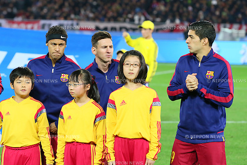 (L-R) Neymar, Lionel Messi, Luis Suarez (Barcelona), <br /> DECEMBER 20, 2015 - Football / Soccer : <br /> FIFA Club World Cup Japan 2015 <br /> Final match between River Plate 0-3 Barcelona  <br /> at Yokohama International Stadium in Kanagawa, Japan.<br /> (Photo by Yohei Osada/AFLO SPORT)