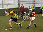 Layah Maher (in yellow) from St. Ammes Camogie club Togher playing in the Camogie tournament at Drogheda Leisure Centre. Photo:Colin Bell/pressphotos.ie