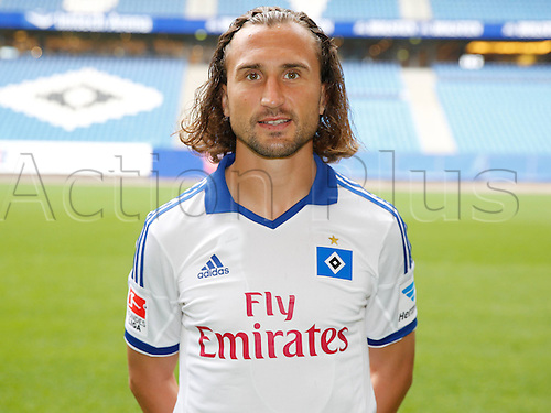 30.07.2013. Hamburg, Germany.  German Bundesliga soccer club Hamburger SV's Petr Jiracek poses during the official photo shoot for the season 2013-14 at Hamburg's Imtech Arena stadium.